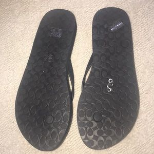 Coach Shoes - NIB Coach flip flops size 8  black. runs small